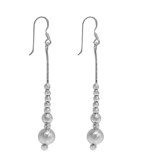 Multi Ball Bead Dangle Earrings, Sterling Silver
