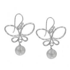 Butterfly & 8mm Ball Dangle Earrings, Sterling Silver