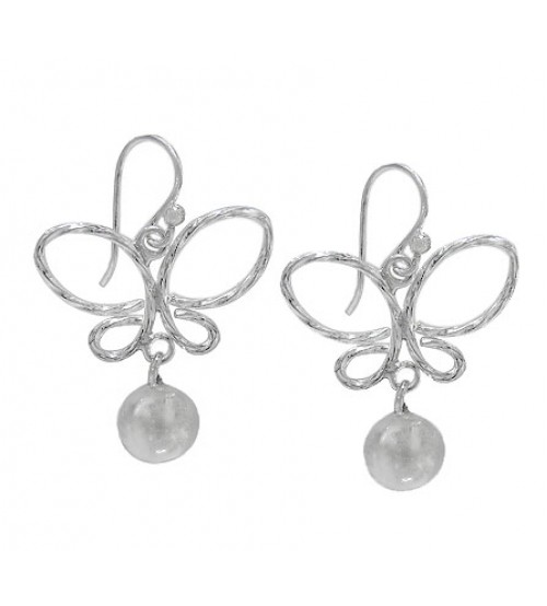 Butterfly & 8mm Ball Dangle Earrings, Sterling Silver