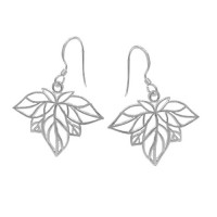Leaf Shape Earrings, Sterling Silver