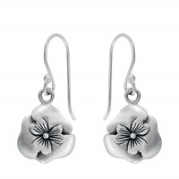 Flower Earrings, Sterling Silver