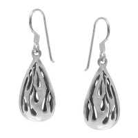 Dangling Flames Earrings, Sterling Silver