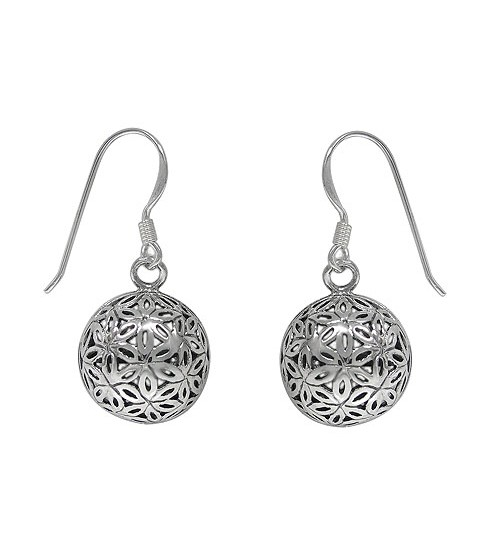 Flower of Life Dome Dangle Earrings, Sterling Silver