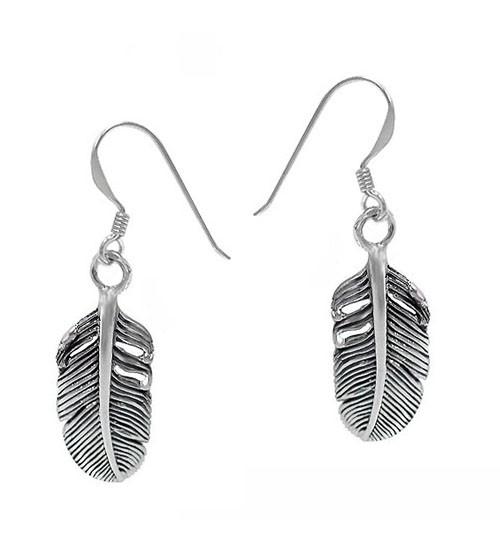 Feather Dangle Earrings, Sterling Silver
