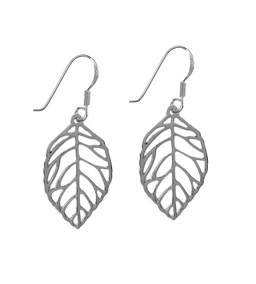 Leaf Dangle Earrings, Sterling Silver