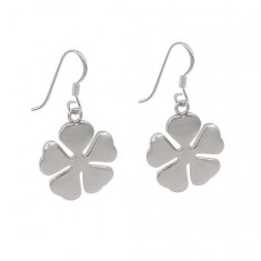 4-Leaf Clover Dangle Earrings, Sterling Silver