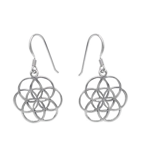 Flower of Life Dangle Earrings, Sterling Silver