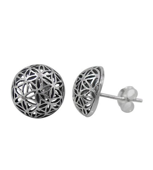Flower of Life Stud Earrings, Sterling Silver