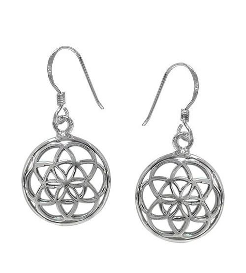 Flower of Life Dangle Earrings, Sterling Silver