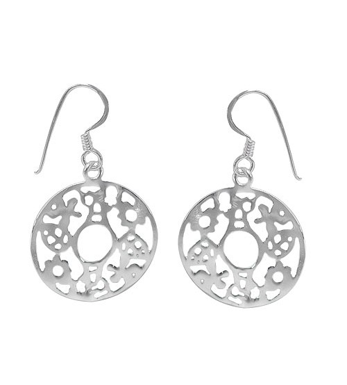 Round Leaf & Flower Dangle Earrings, Sterling Silver