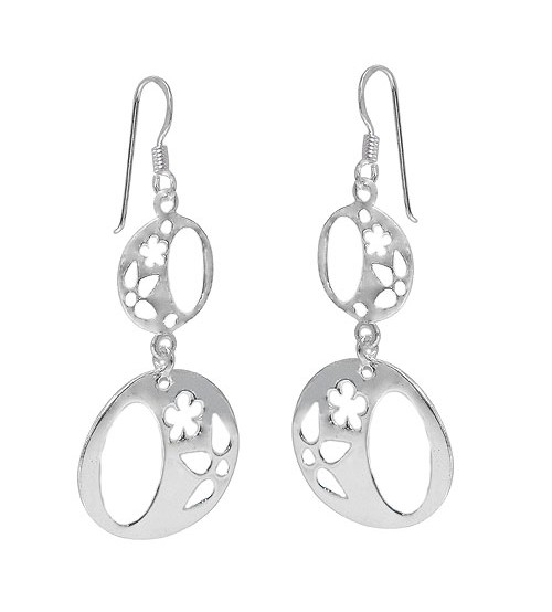 Round Flower Dangle Earrings, Sterling Silver