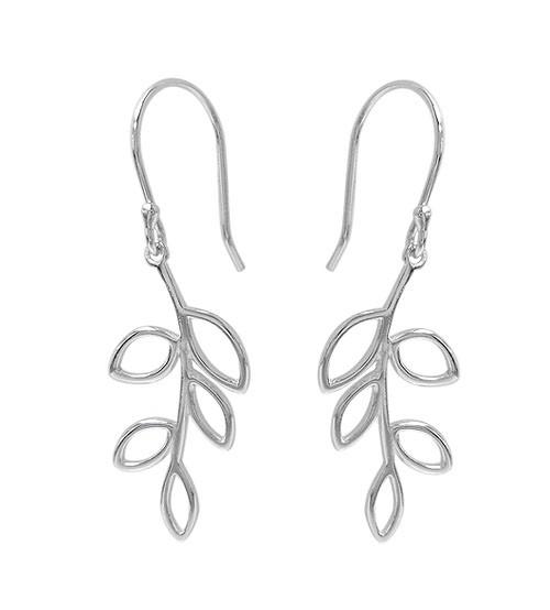 Leaf Dangle Earrings, Sterling Silver