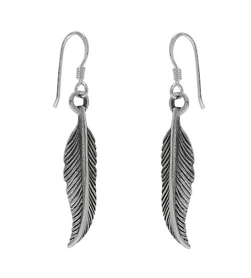 Feather Dangle Earrings, Sterling Silver