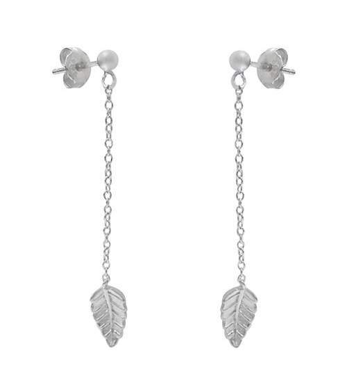 Leaf Dangle Stud Earrings, Sterling Silver