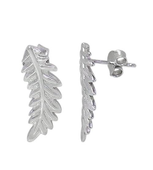 Leaf Stud Earrings, Sterling Silver