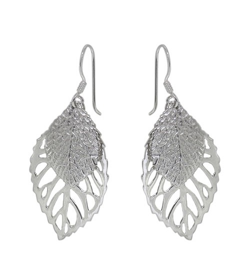 Double Leaf Dangle Earrings, Sterling Silver