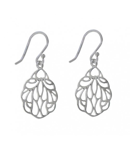Teardrop Filligree Dangle Earrings, Sterling Silver