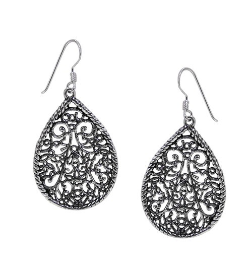 Filligree Dangle Earrings, Sterling Silver