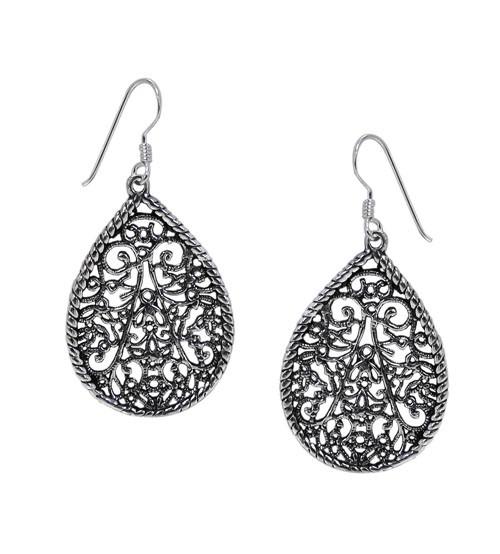 Filligree Dangle Earrings, Sterling Silver