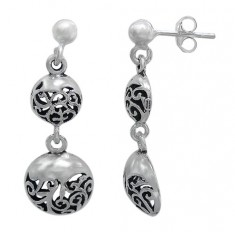 Filligree Stud Earrings, Sterling Silver