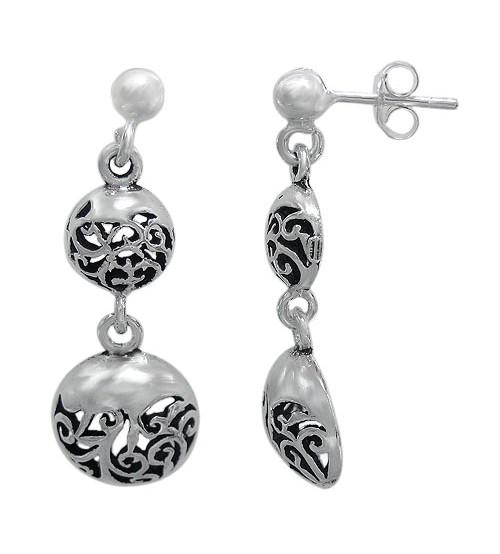Filligree Stud Earrings, Sterling Silver