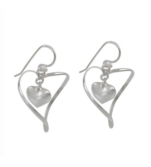 Twisted Heart Dangle Earrings, Sterling Silver