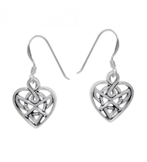 Heart Dangle Earrings, Sterling Silver