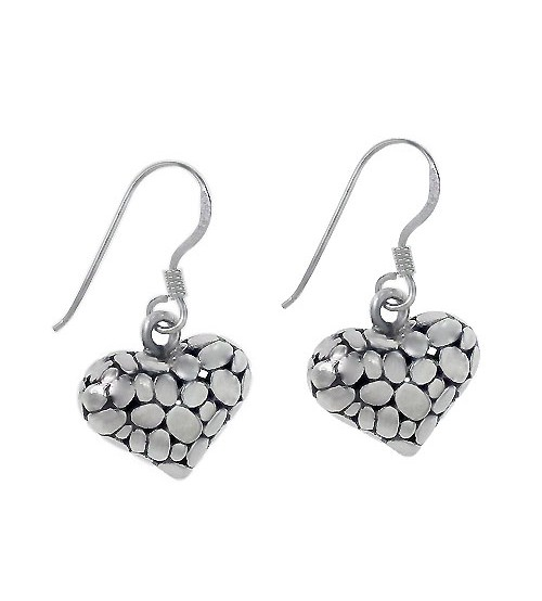 Puffy Heart Dangle Earrings, Sterling Silver