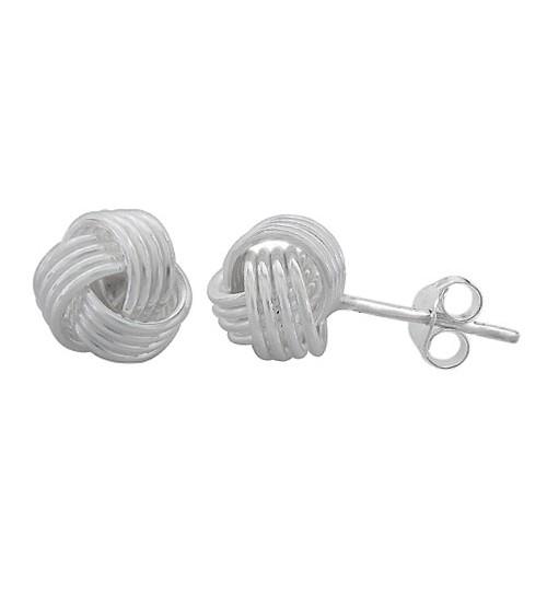 Love Knot Stud Earrings, Sterling Silver