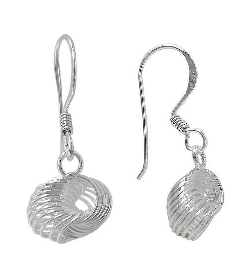 Love Knot Dangle Earrings, Sterling Silver
