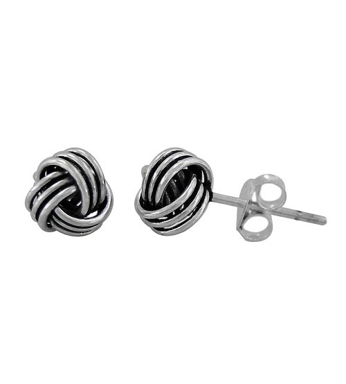 Love Knot Stud Earrings, Sterling Silver