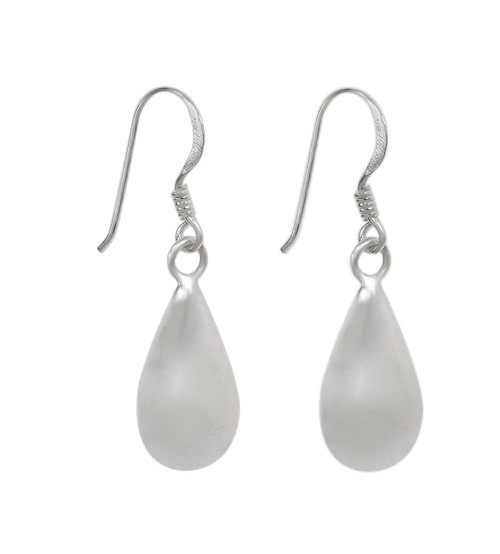 Puffy Teardrop Dangle Earrings, Sterling Silver