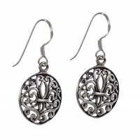 Fleur de Lis Dangle Earrings, Sterling Silver