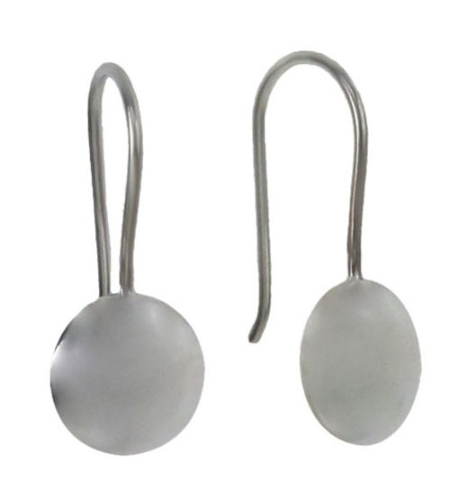 Smooth Round Dangle Earrings, Sterling Silver