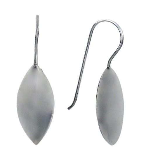Puffy Rice Shape Dangle Earrings, Sterling Silver