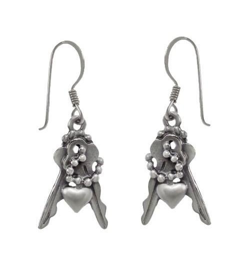 Fancy Multi Charm Dangle Earrings, Sterling Silver