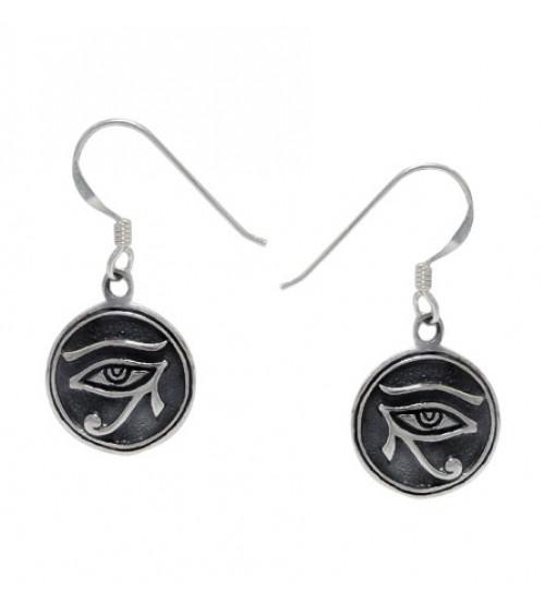 Egyptian Eye Dangle Earrings, Sterling Silver
