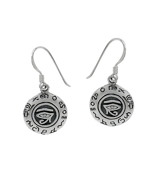 Egyptian Eye Dangle Earrings, Sterling Silver