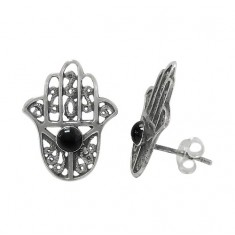 Black Evil Eye & Hamsa Stud Earrings, Sterling Silver