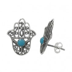 Blue Evil Eye & Hamsa Stud Earrings, Sterling Silver