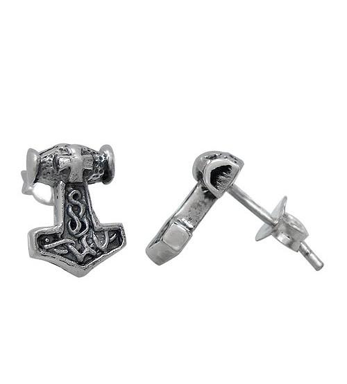 Thor Hammer Stud Earrings, Sterling Silver