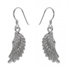Angel's Wing Dangle Earrings, Sterling Silver