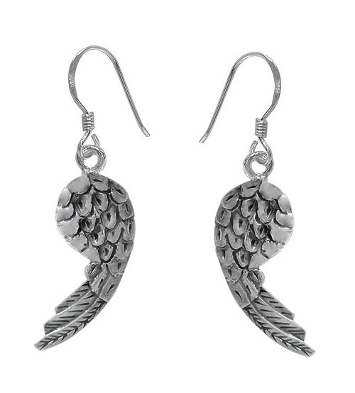 Angel's Wing Dangle Earrings, Sterling Silver