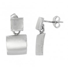 Double Square Stud Earrings, Sterling Silver