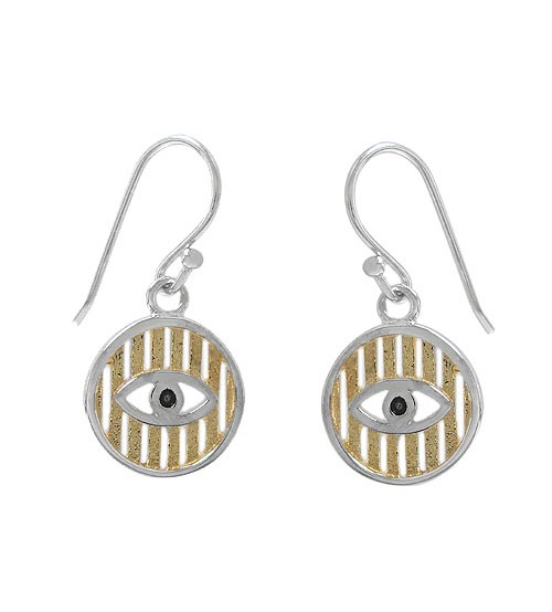 Evil Eye Dangle Earrings, Sterling Silver