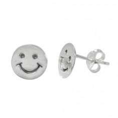 Happy Face Stud Earrings, Sterling Silver