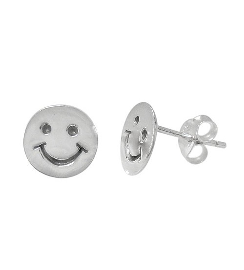 Happy Face Stud Earrings, Sterling Silver