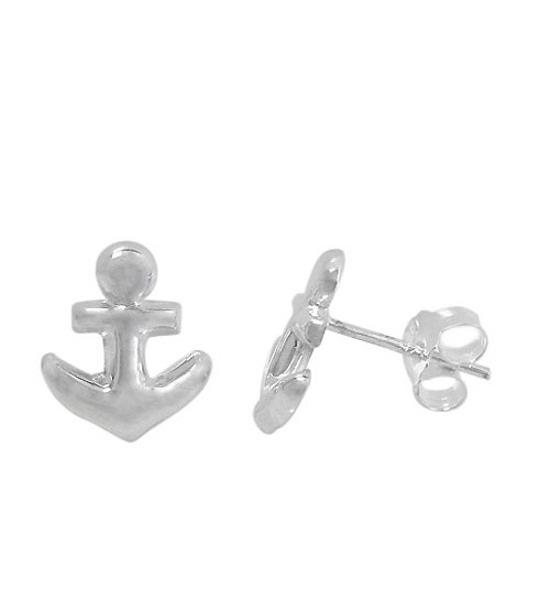Anchor Stud Earrings, Sterling Silver