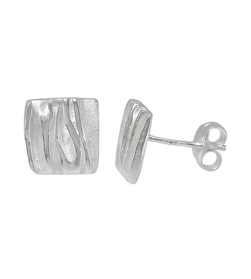Square Stud Earrings, Sterling Silver