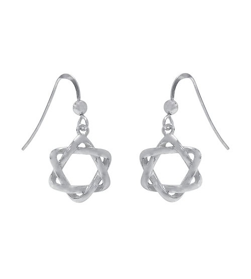 Star of David Dangle Earrings, Sterling Silver